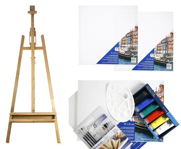 profi malset staffelei pinsel acrylfarbe leinw nde etc ebay. Black Bedroom Furniture Sets. Home Design Ideas