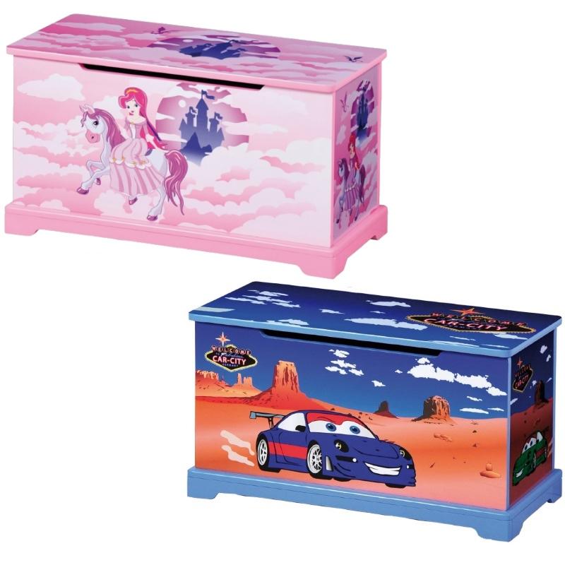 Spielzeugtruhe pink oder blau für kinder truhe