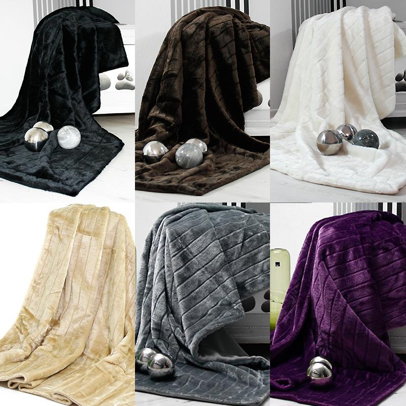 couverture plaid imitation fourrure chaud doux moderne chic 200x150cm ebay. Black Bedroom Furniture Sets. Home Design Ideas